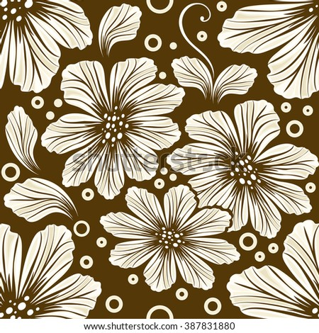 Seamless brown cosmos flower vector background. - stock vector