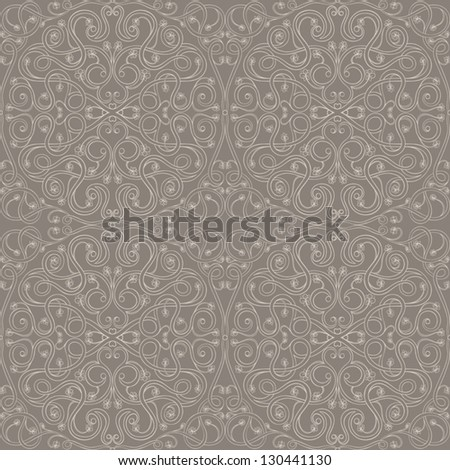 Seamless brown floral pattern with Arabic motifs. vector illustration