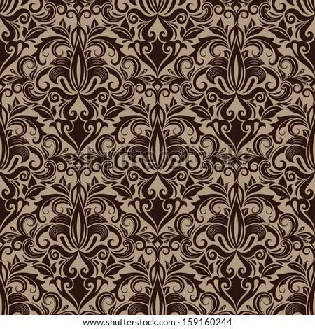 Seamless brown floral vector wallpaper pattern. - stock vector