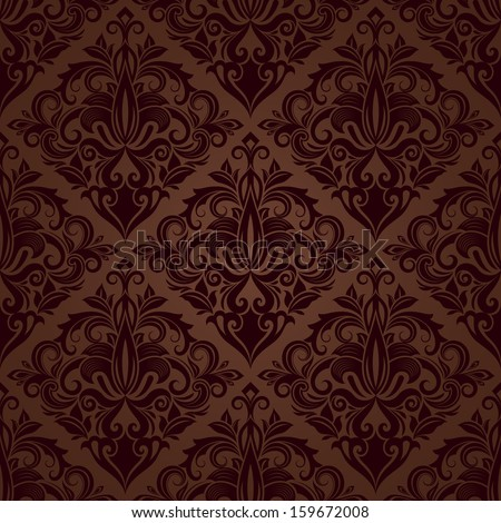 Seamless brown floral vector wallpaper pattern. - stock vector