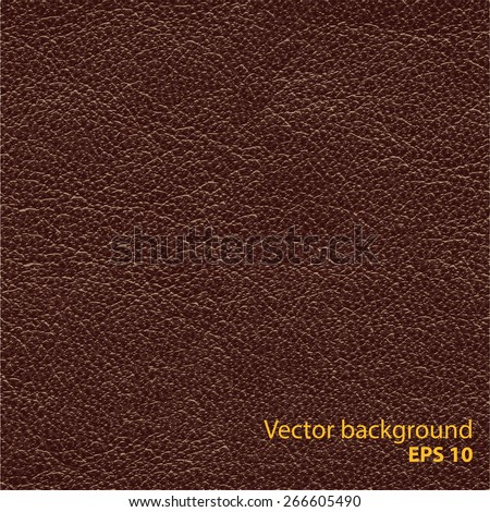 Seamless brown natural leather texture, detalised vector background. - stock vector
