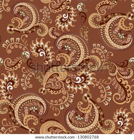 Seamless brown paisley pattern with bells - stock vector
