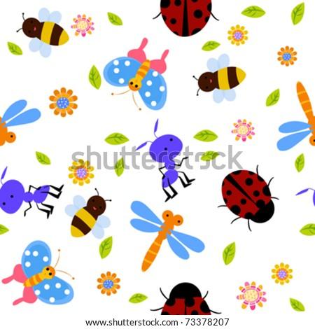 seamless bug pattern - stock vector