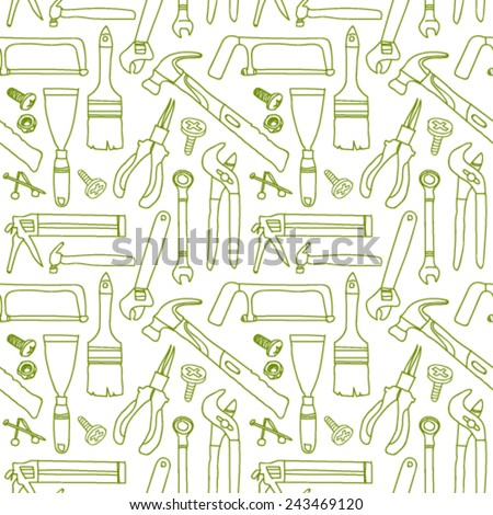 Seamless builder tools pattern - stock vector