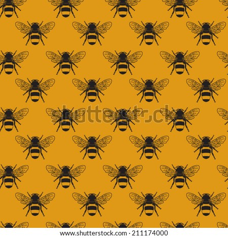 Seamless bumblebee pattern - stock vector