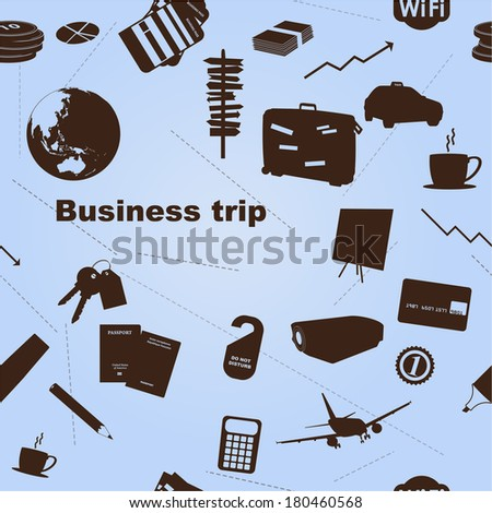 Seamless business trip pattern. Vector - stock vector