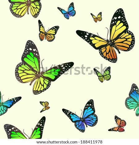 Seamless butterfly background - stock vector