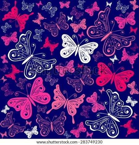 Seamless butterfly pattern. Vector illustration - stock vector