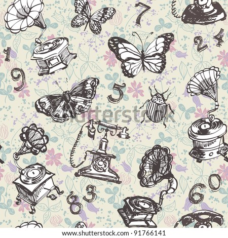 Seamless butterfly retro pattern on floral background - stock vector