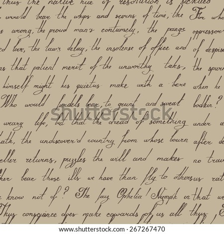 Seamless calligraphic hand writen vintage pattern - stock vector