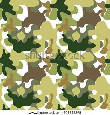 Seamless camouflage pattern. Expressive forest shadow palette. Military textile collection. Abstract vector background. Light green, dark green, khaki, white. Backgrounds & textures shop. - stock vector