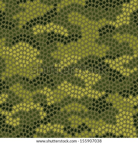 Seamless camouflage pattern made of small stars in green colors - stock vector
