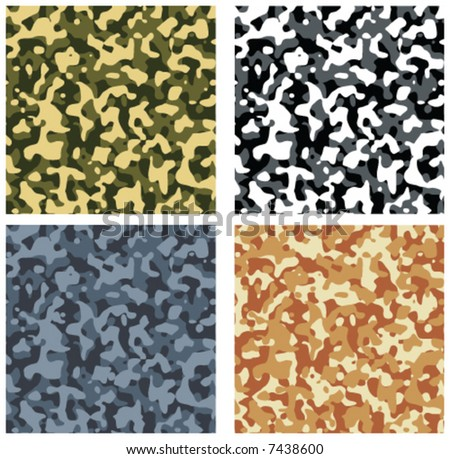 seamless camouflage pattern vector set - stock vector