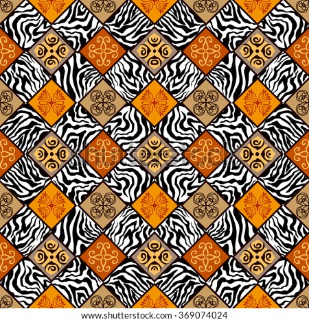 Seamless carpet pattern. Various zebra prints and tile geometric and floral ornaments. Backgrounds & textures shop. - stock vector
