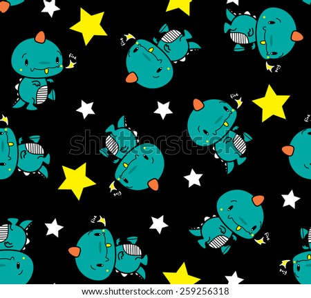 Seamless cartoon cute dinosaur vector. - stock vector