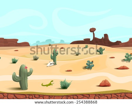 Seamless cartoon desert landscape, vector unending background with desert, herbs, mountains and sky layers.