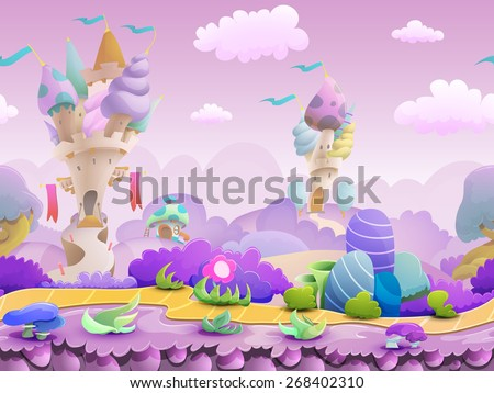 Seamless cartoon fairytale landscape, vector unending background with ground, castles, plants and sky layers. - stock vector