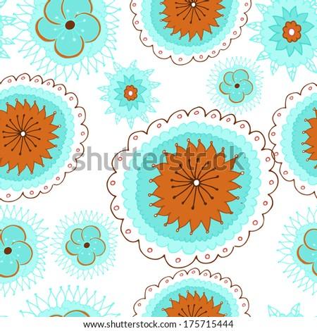 Seamless cartoon flower design - stock vector