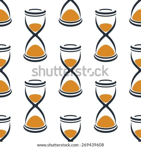 Seamless cartoon hourglasses in retro style with orange sand pattern on white background suitable for fabric or wrapping paper design - stock vector