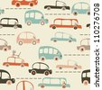 seamless cartoon map of cars and traffic - stock photo