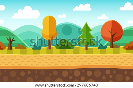 Seamless cartoon nature landscape. Layered ground, grass, trees, mountains, clouds and sky - stock vector