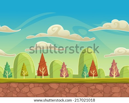Seamless cartoon nature landscape, unending background with soil,  trees, mountains and cloudy sky layers - stock vector