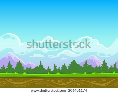 Seamless cartoon nature landscape, vector unending background with grass, forest, mountains and sky layers - stock vector