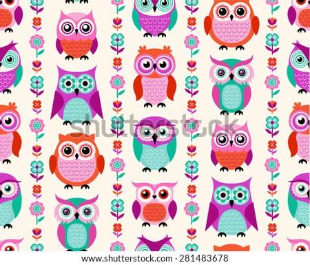 seamless cartoon owls flower pattern - stock vector