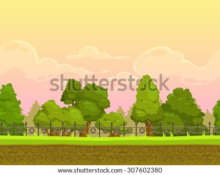 Seamless cartoon park landscape, endless illustration with separated layers for parallax effect