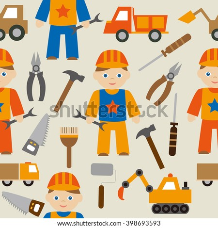 Seamless cartoon pattern of cheerful repairman in a uniform with tool and working machines.