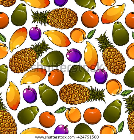 Seamless cartoon pattern of juicy tropical pineapples and mangoes, oranges and avocados, garden plums and peaches fruits over white background. Great for organic farming theme or fruity dessert design - stock vector