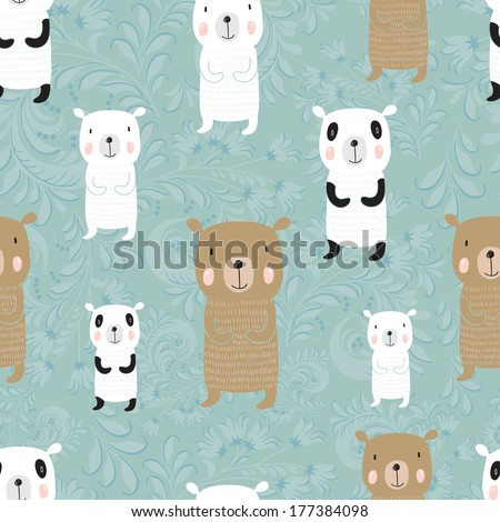 Seamless cartoon pattern with bears. Panda, polar bear and a Russian bear - stock vector