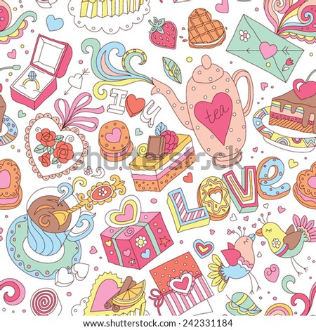 """Seamless cartoon vector pattern for Valentine's Day. Hearts, """"Love"""" lettering, cakes, birds, cards and other romantic elements on a white background.  - stock vector"""