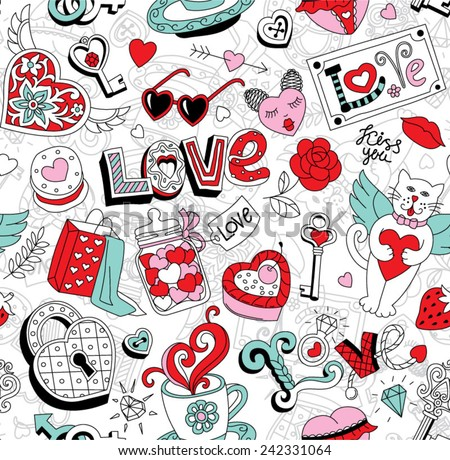 "Seamless cartoon vector pattern for Valentine's Day. Hearts,  ""Love"" lettering, cats, cakes, sweets,  keys and other cool elements on a white background."