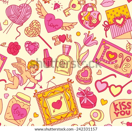 "Seamless cartoon vector pattern for Valentine's Day. Hearts,  ""Love"" lettering, cupids, flowers,   perfumes and other romantic elements on a light yellow background."