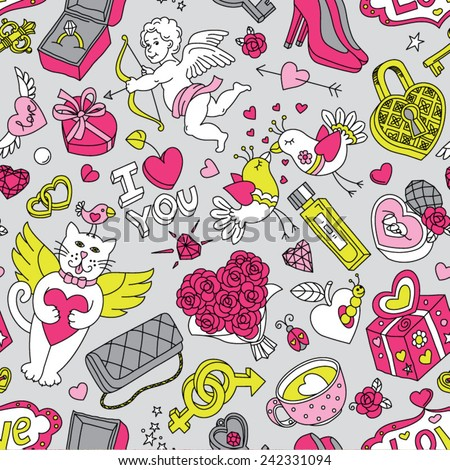 "Seamless cartoon vector pattern for Valentine's Day. Hearts,  ""Love"" lettering, flying cats, cupids, birds and other fun elements on a grey background."