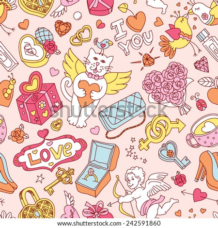 "Seamless cartoon vector pattern for Valentine's Day. Hearts, ""Love"" lettering, flying cats, cupids, birds and other fun elements on a pastel background."