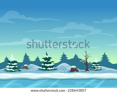 Seamless cartoon winter landscape, unending background with ice, snow hills and cloudy sky layers