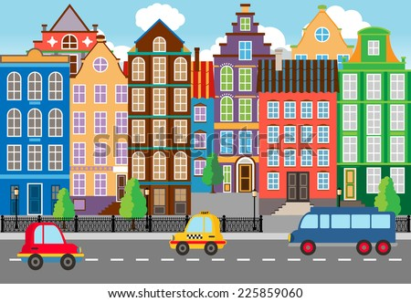 Seamless Cartooned Cartooned City Life Portrait. Designed with Huge Buildings along the Street. - stock vector