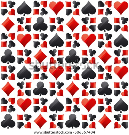 Seamless casino gambling poker background with red and black  symbols, vector illustration. Ideal for printing onto fabric and paper or scrap booking
