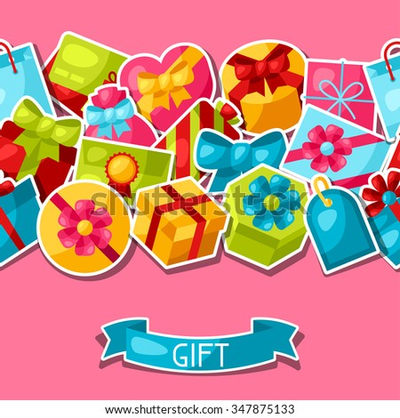Seamless celebration pattern with colorful sticker gift boxes.