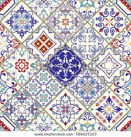 Seamless ceramic tile with colorful patchwork vintage multicolor pattern in turkish style endless pattern