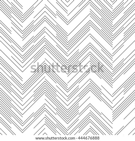 Seamless Chaotic ZigZag Pattern. Abstract Monochrome Background. Vector Regular Line Texture - stock vector