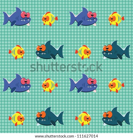 Seamless checked pattern with funny cartoon sharks and fishes. - stock vector