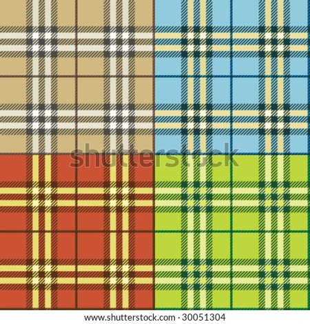 seamless checked plaid background vector set - stock vector