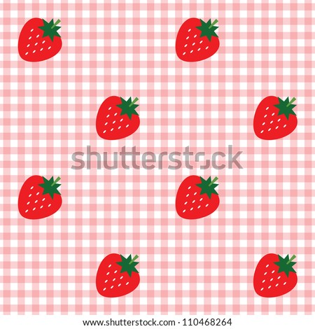 Seamless checked red and white pattern with strawberries. - stock vector
