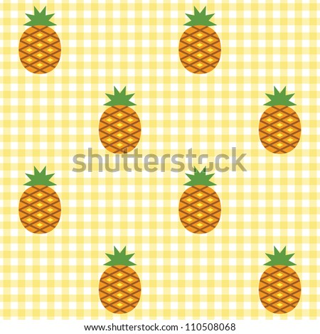 Seamless checked yellow and white pattern with pineapples. - stock vector