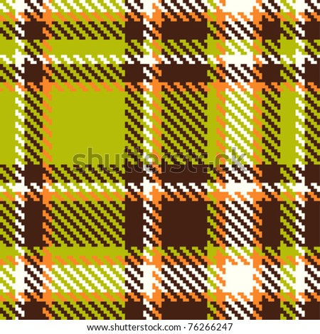 Seamless checkered green orange brown vector pattern - stock vector