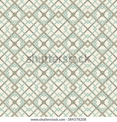 seamless checkered pattern in turquoise, brown and beige on texture background