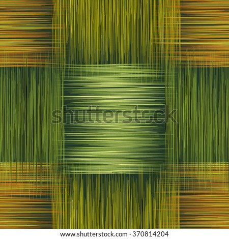 Seamless checkered pattern with grunge striped square elements in green,brown,yellow colors for web design - stock vector